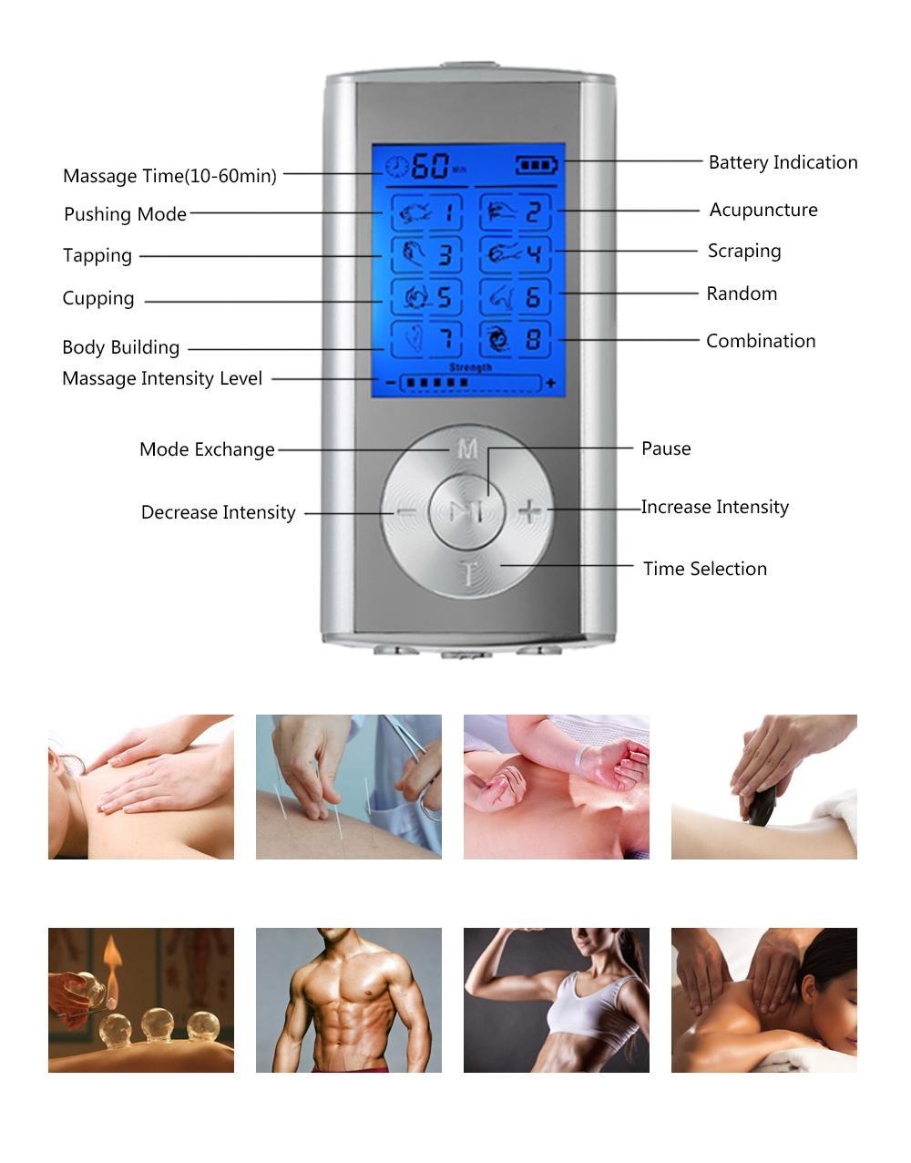 Terapia elettrica di stimolatore del muscolo di massaggiatore di impulso della massaggiatrice delle unità di dieci di modi della macchina di rilievo di dolore elettrico del massaggiatore