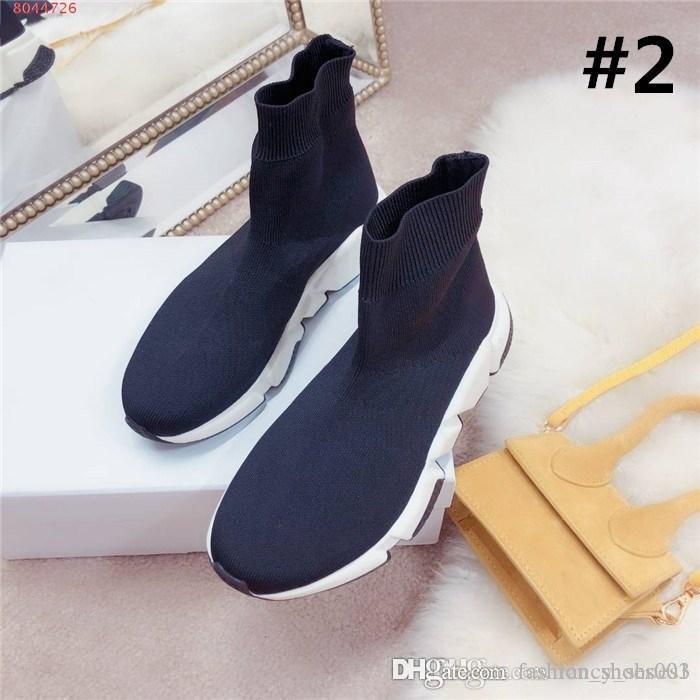 2019 Damen Herbst / Winter-Webart elastische Socken Schuhe Socken Stiefel hohe starke untere beiläufige dad Schuhe Socken Stiefel mit Kasten Größe 35-39