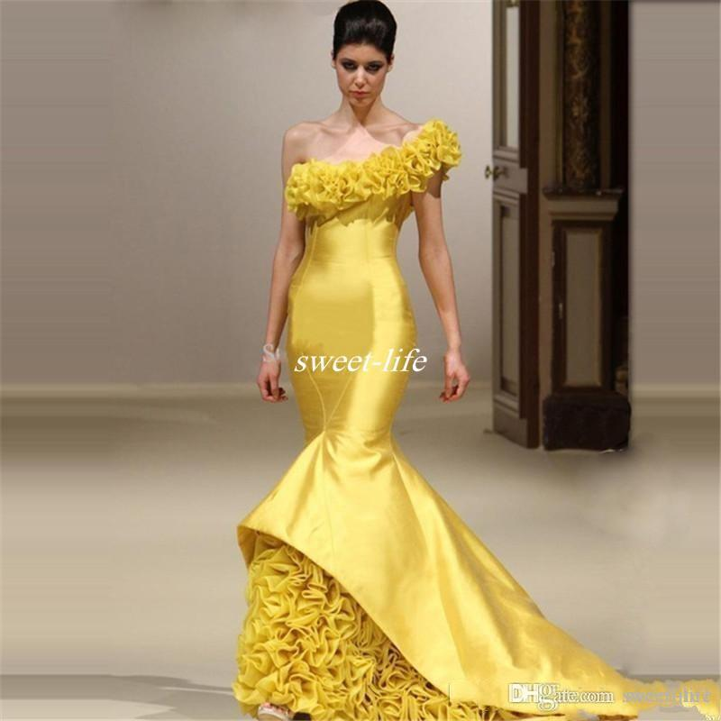 Yellow Mermaid Pageant Evening Dresses One Shoulder Tiered Ruffles Flower Formal Party Gowns Satin Long Prom Dress 2020