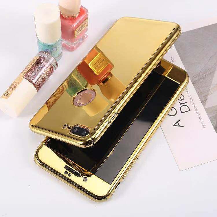 Per iPhone XR XS 7 8 360 Protezione completa del corpo casse del telefono duro di lusso di placcatura PC Specchio caso Armor Free di protezione in vetro