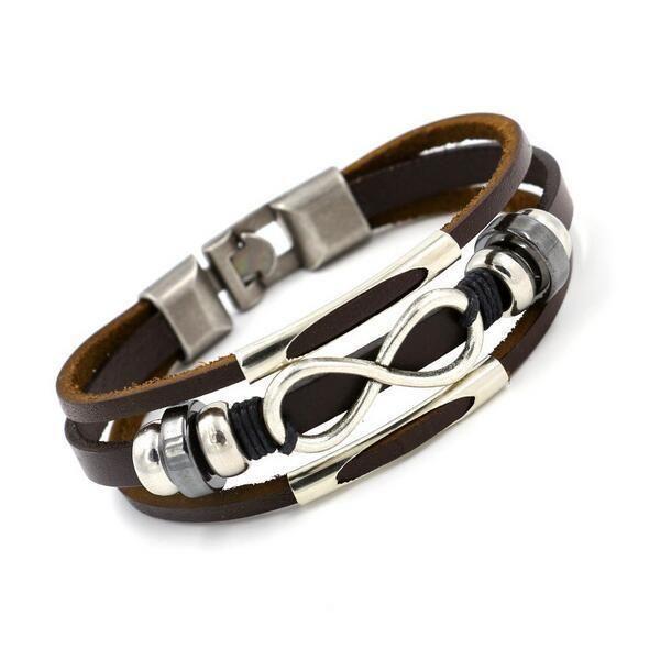 купить оптом модные мужские шикарные кожаные плетеные браслеты из