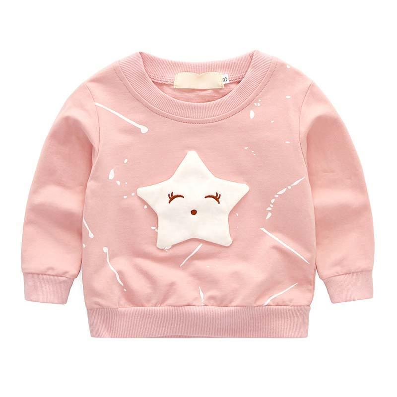 3D Yıldız Bebek Çocuk Kız Kapüşonlular Bebek Çocuk Çocuk Kız Hoodies Sweatshirt Giyim 2019 Bebek Kazak Kıyafet yazdır