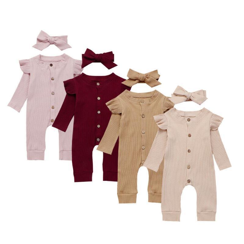 2 piezas de la niña del muchacho ropa de algodón de punto mono del mameluco del otoño con banda de Trajes de disfraces niñas pequeñas invierno de la ropa del 2020
