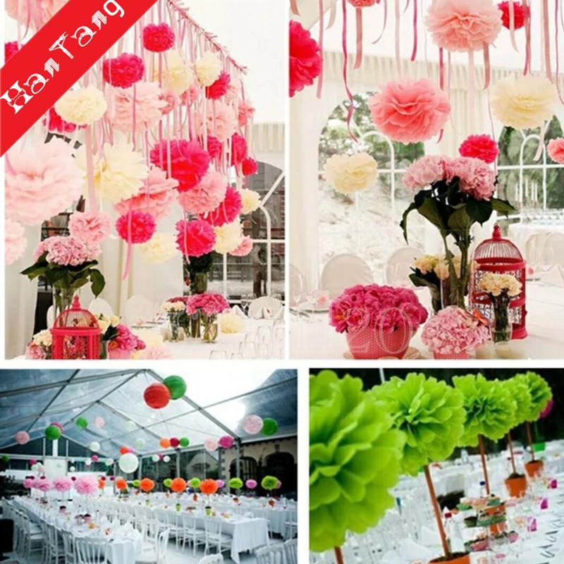 Pom Pom Fleur Papier Peint Fleur Pompons Balles pour la Décoration De Mariage Partie DIY Décoration Artisanat faux Papier Fleurs 5z