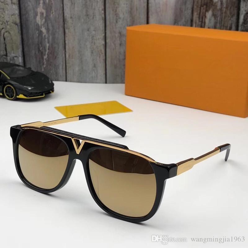 MASCOT Sunglasses Luxury Popular Retro Vintage 0936 Men Designer Sunglasses Shiny Gold Summer Style Laser Logo Gold Plated Come With Case