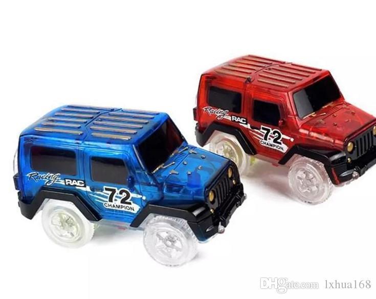 Glow in the Dark Magie der Auto-LED Light Up-Elektronik Auto Spielzeug Jeep-Modell-elektrischen Rennwagen DIY Spielzeug-Auto für Kind lxhua