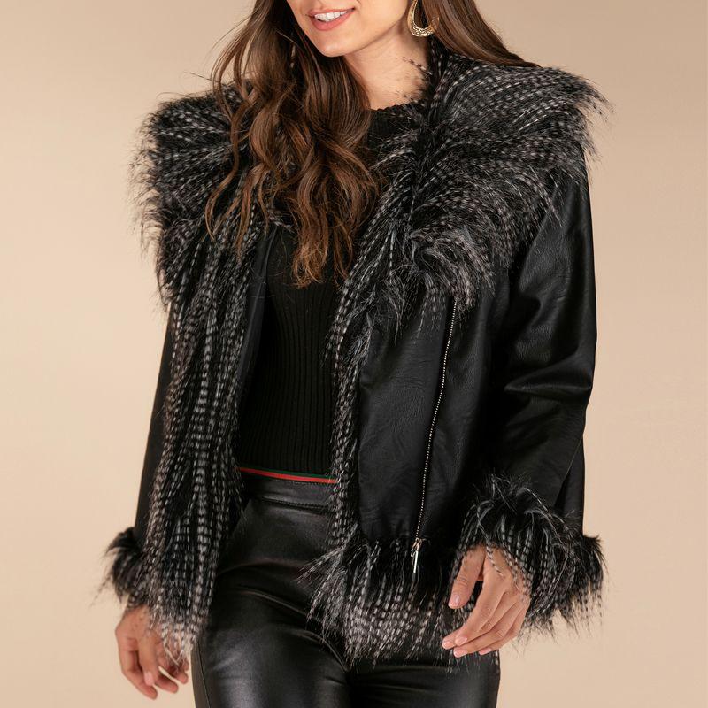 Frauenjacken 2021 Mode Frauen Herbst Winter Schwarz Faux Leder Reißverschluss Grundmantel mit Pelzkragen Streetwear Bikerjacke XXL