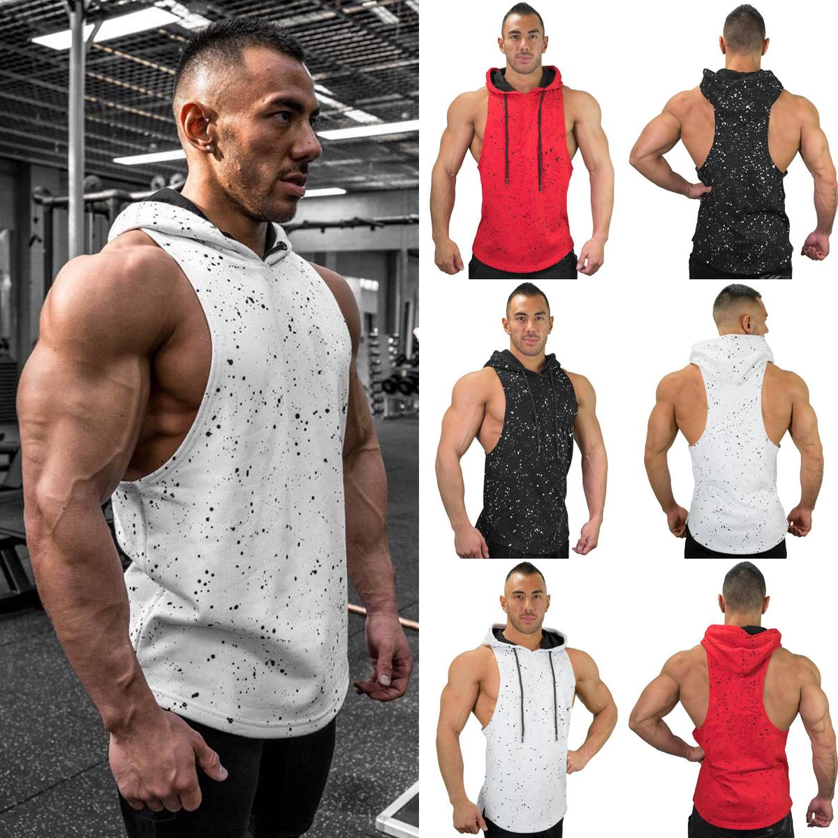 Men Sleeveless Hooded Slim Fit Gym Sports Bodybuilding Muscle T-shirt Tank Top