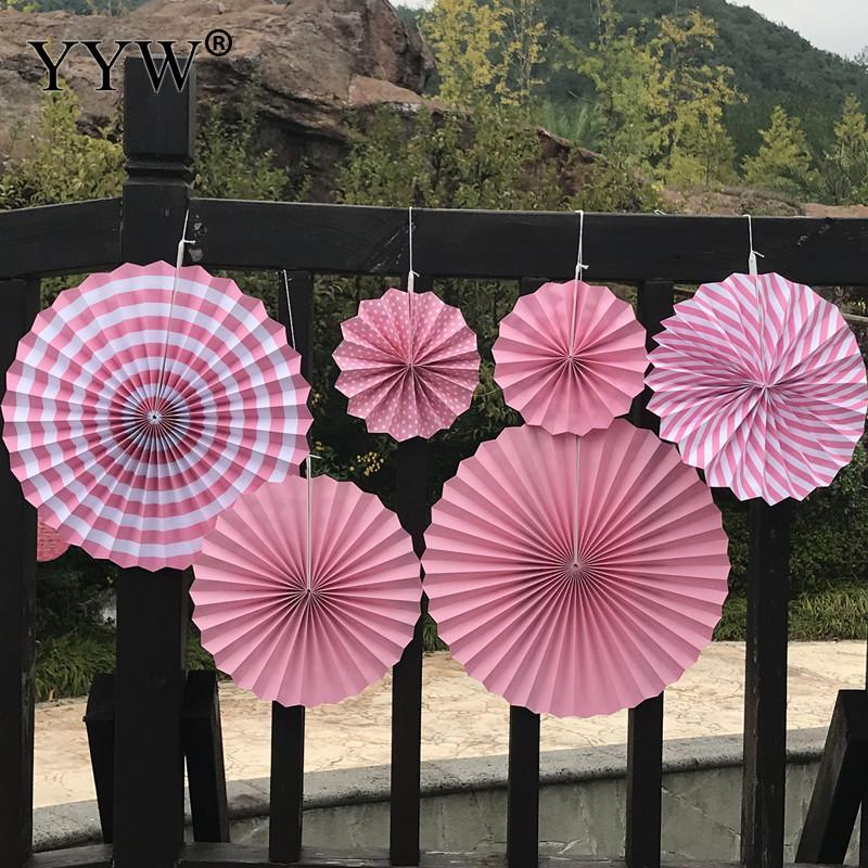 6pcs Paper Fan Flowers Wedding Supplies Decoration Paper Fan Hanging Decor Garland Mexican Party Garden Wedding Country