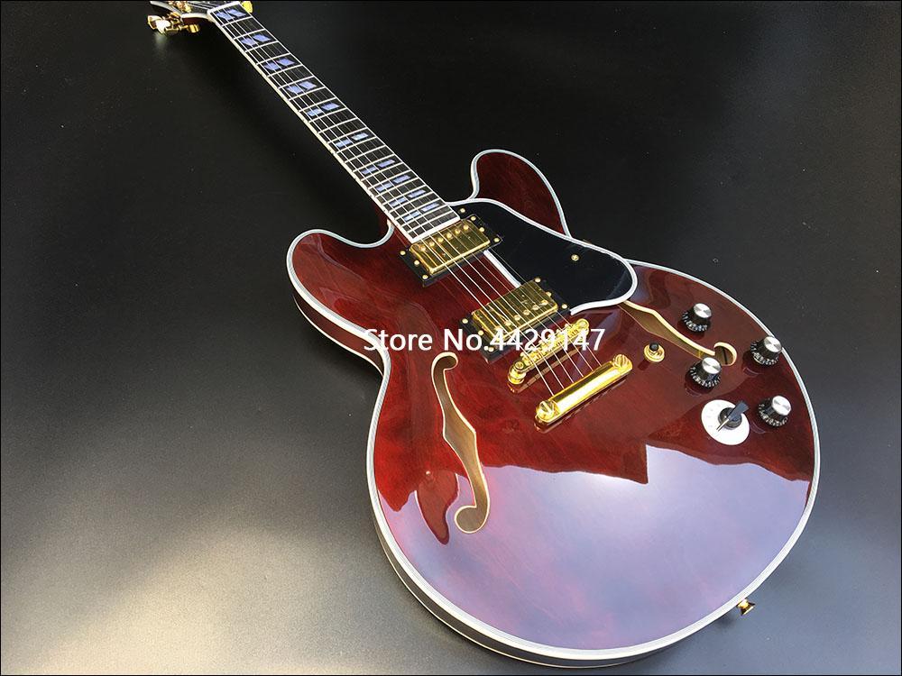 عالية الجودة شبه جوفاء الجاز الغيتار الكهربائي والغيتار اللدود النبيذ الأحمر الشفاف، القيقب الملمس، الأجهزة الذهبي، وحرية الملاحة!