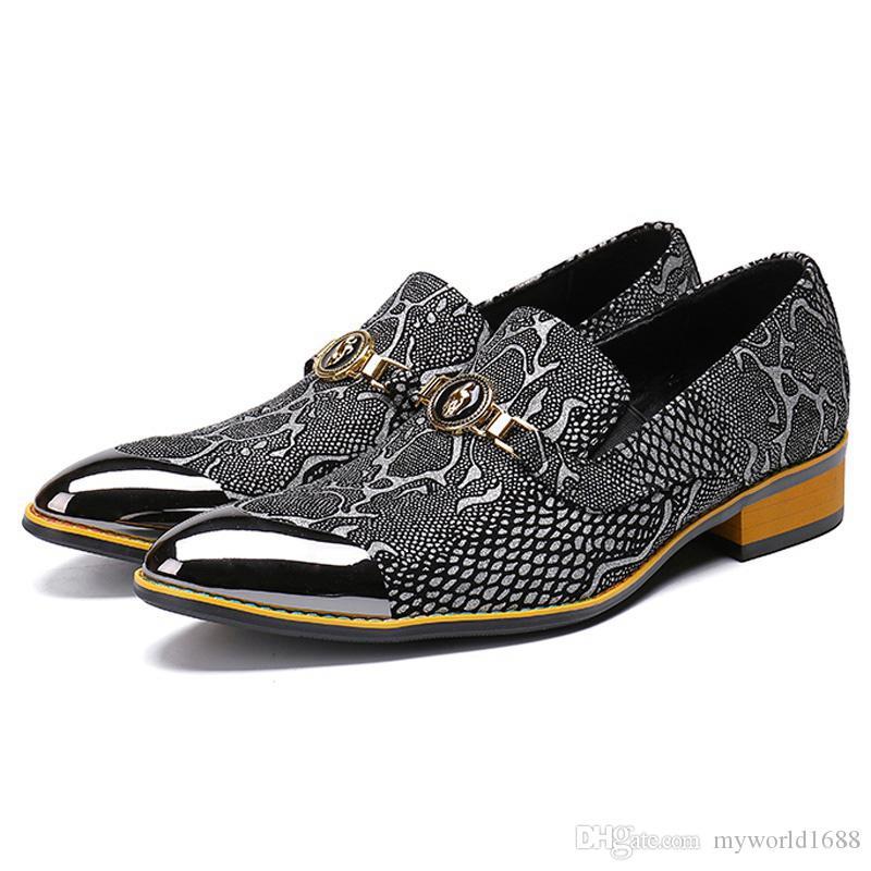 Python Padrão Apontou Toe Man Formal Vestido masculino paty prom sapatos de Casamento Mocassins dos homens de Couro Genuíno banquete de Festa de Dança sapatos