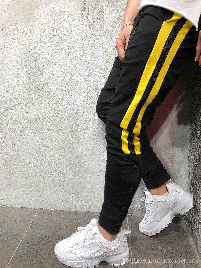 Fashion-Mens Designer Street Pantalones Pants Striped Buttons Design Pencil Harem Pants Casual Sports Joggers