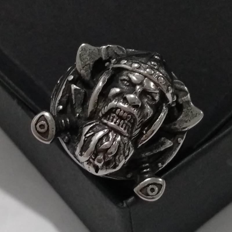 2020 New Domineering Old Man Doppelaxt Europäische und amerikanische Rüstung bärtige Krieger Ring Vintage Ring UsSize