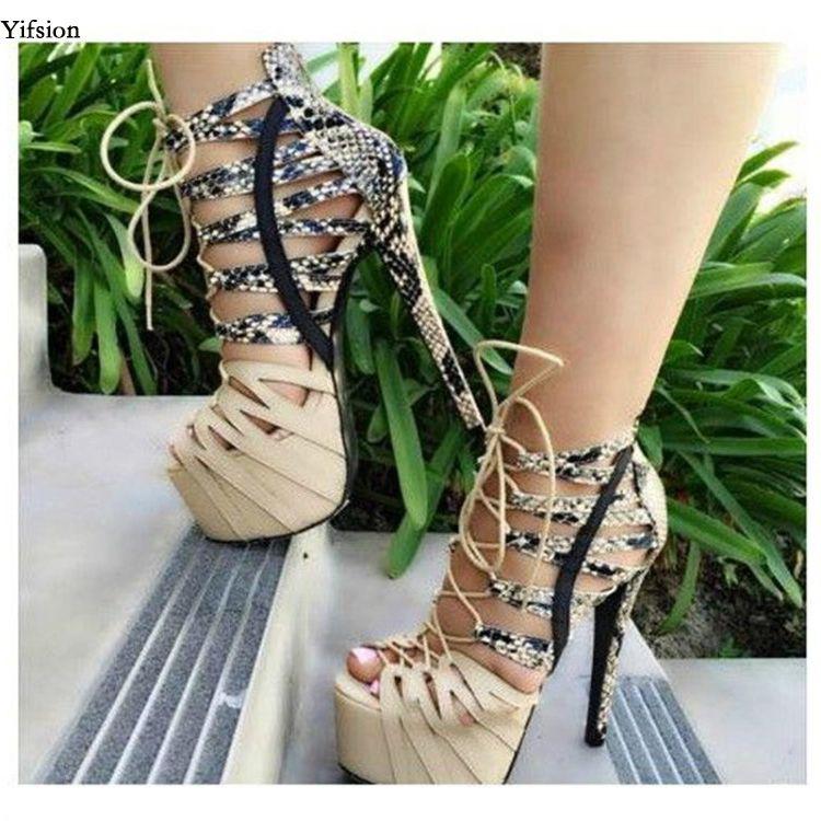 Rontic Mulheres Platform Sandals Sexy Snakeskin Stiletto Salto Alto Sandálias Peep Toe Branco damasco Shoes Mulheres US Plus Size 5-15