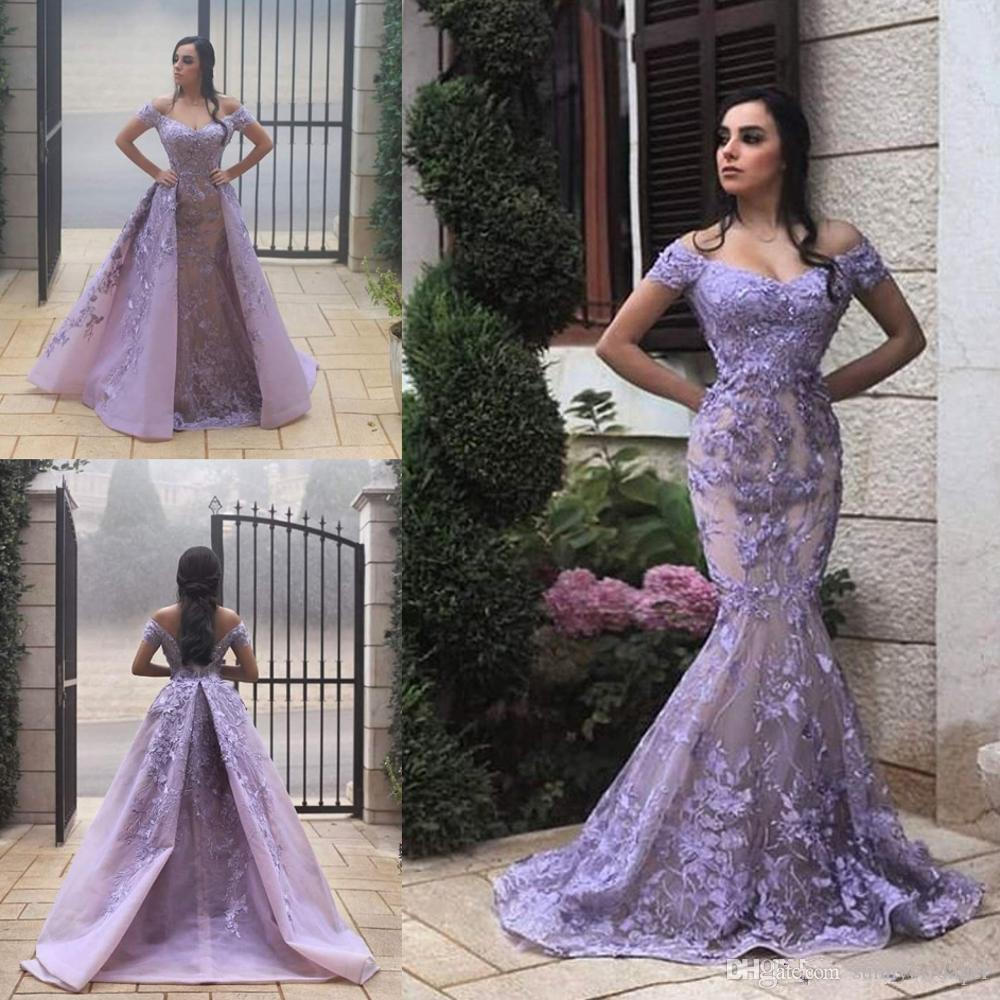 2020 Krikor Jabotian Mermaid Prom Dresess With Detachable Train Off The Shoulder Lace Appliqued Pearl Gorgeous Evening Dress Party Wear