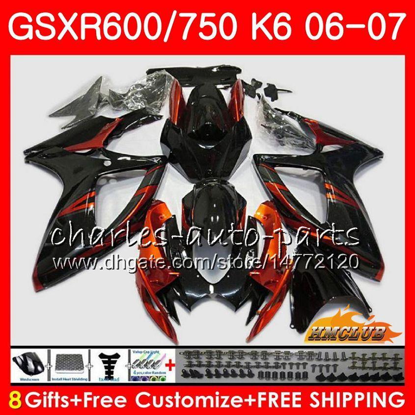 Suzuki 오렌지 블랙 GSX R750 GSX R600 GSXR 600 750 GSXR750 06-07 8HC.105 GSXR-750 GSX-R600 K6 GSXR600 06 07 2006 2007 Fairing Kit