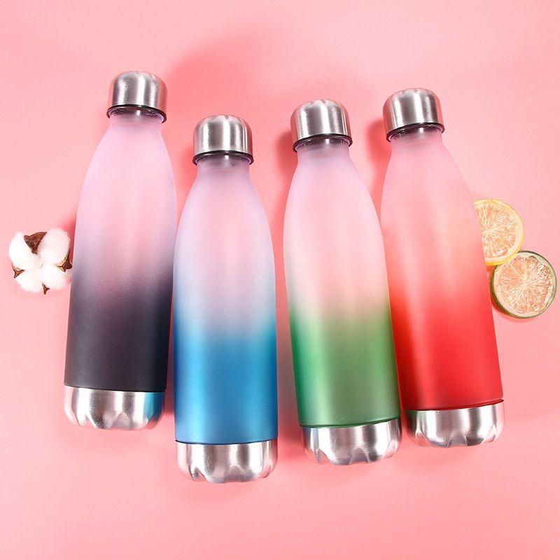 cor gradiente abrasivo copo portátil copo de plástico à prova de fugas para homens e mulheres ao ar livre esportes fitness copo portátil Água Garrafas T3I5333