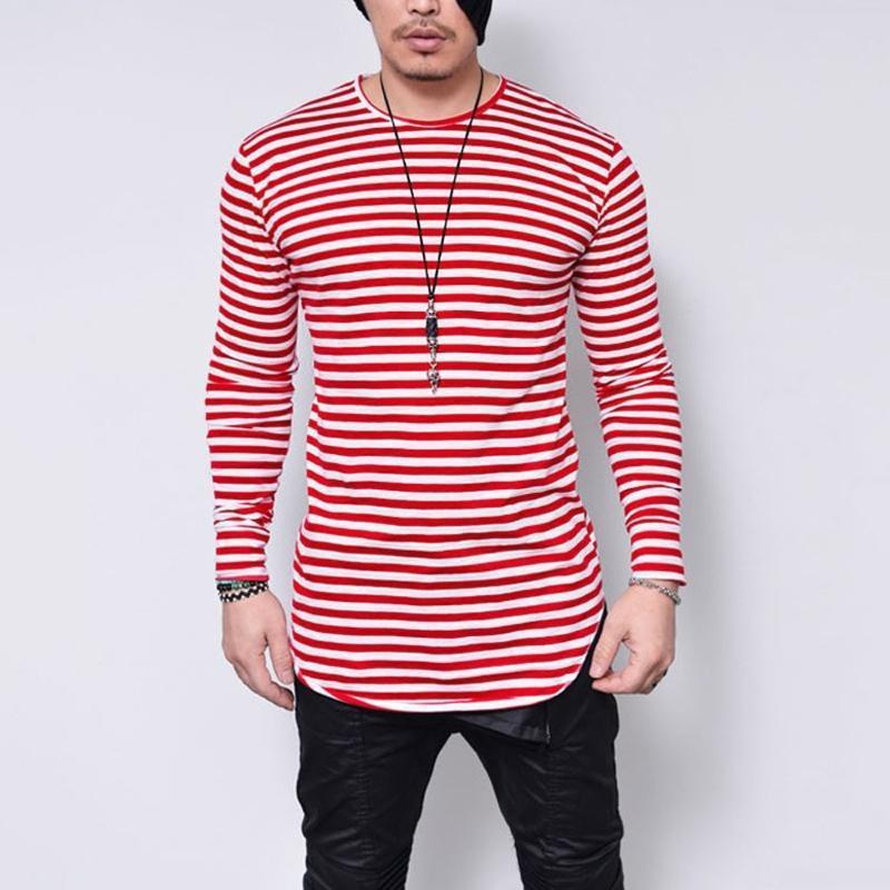 T-shirt surdimensionné 5xl Homme Noir O manches longues hommes T-shirt rayé Imprimer Streetwear Casual Shirt Hommes Vêtements 2020 Camiseta
