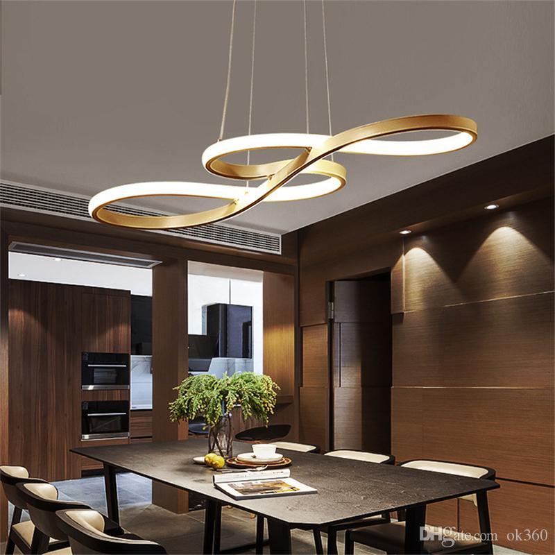 Preto Branco Ouro Acabado Acrílico Moderna Criativo Luzes pingente de LED Cozinha suspensão de suspensão de sílica de alumínio lâmpada cabo para sala de jantar