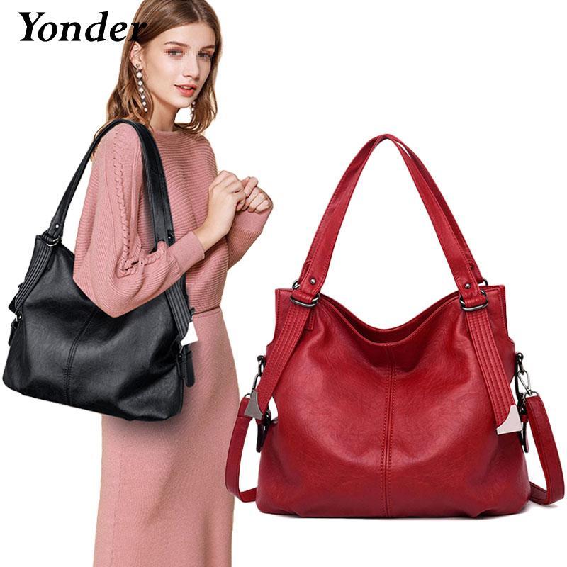 Yonder Brand Fashion Women's Shoulder Bag Female Genuine Leather Handbags Ladies Bag High Quality Large Tote Bag Black/red/grayMX190824