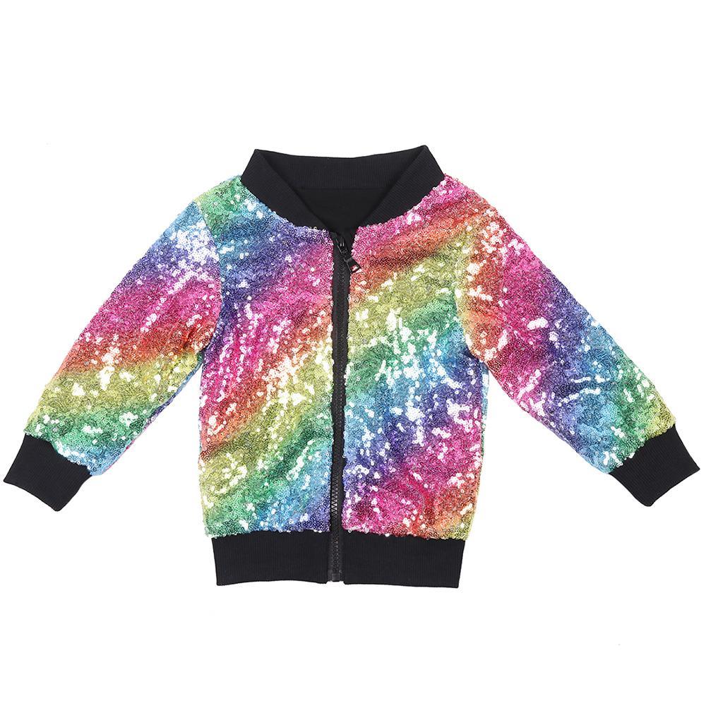 Printemps / Automne Sequin Bébé Veste Coton Bomber Survêtement Rainbow Étincelle À Manches Longues Enfants Manteau Solide Brillant Filles Garçons Veste