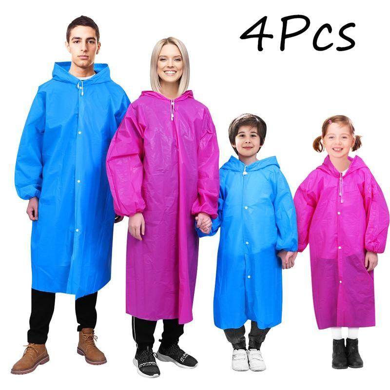 MOVTOTOP 4PCS PEVA la lluvia del impermeable Ponchos Portable Práctico duradero Lluvia de emergencia Poncho ropa impermeable para las mujeres de los hombres adultos de los niños