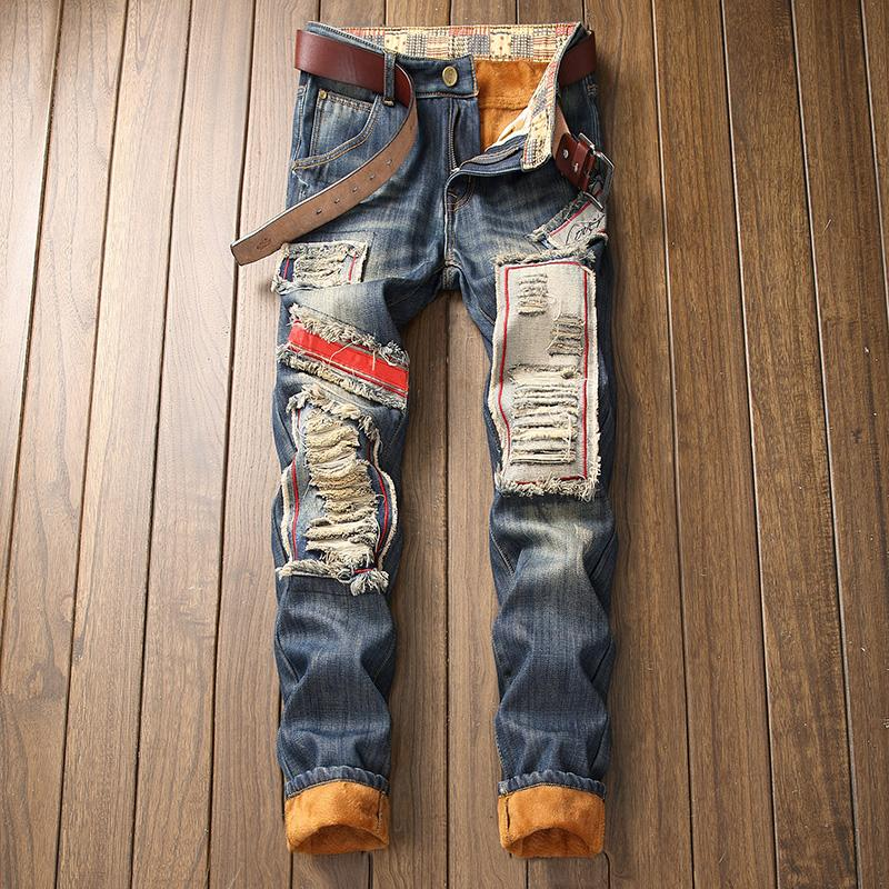 Winter ripped jeans men Fleece Keep warm skinny Patchwork Print Tassel Punk Style denim Straight brand men's fashion jean pants