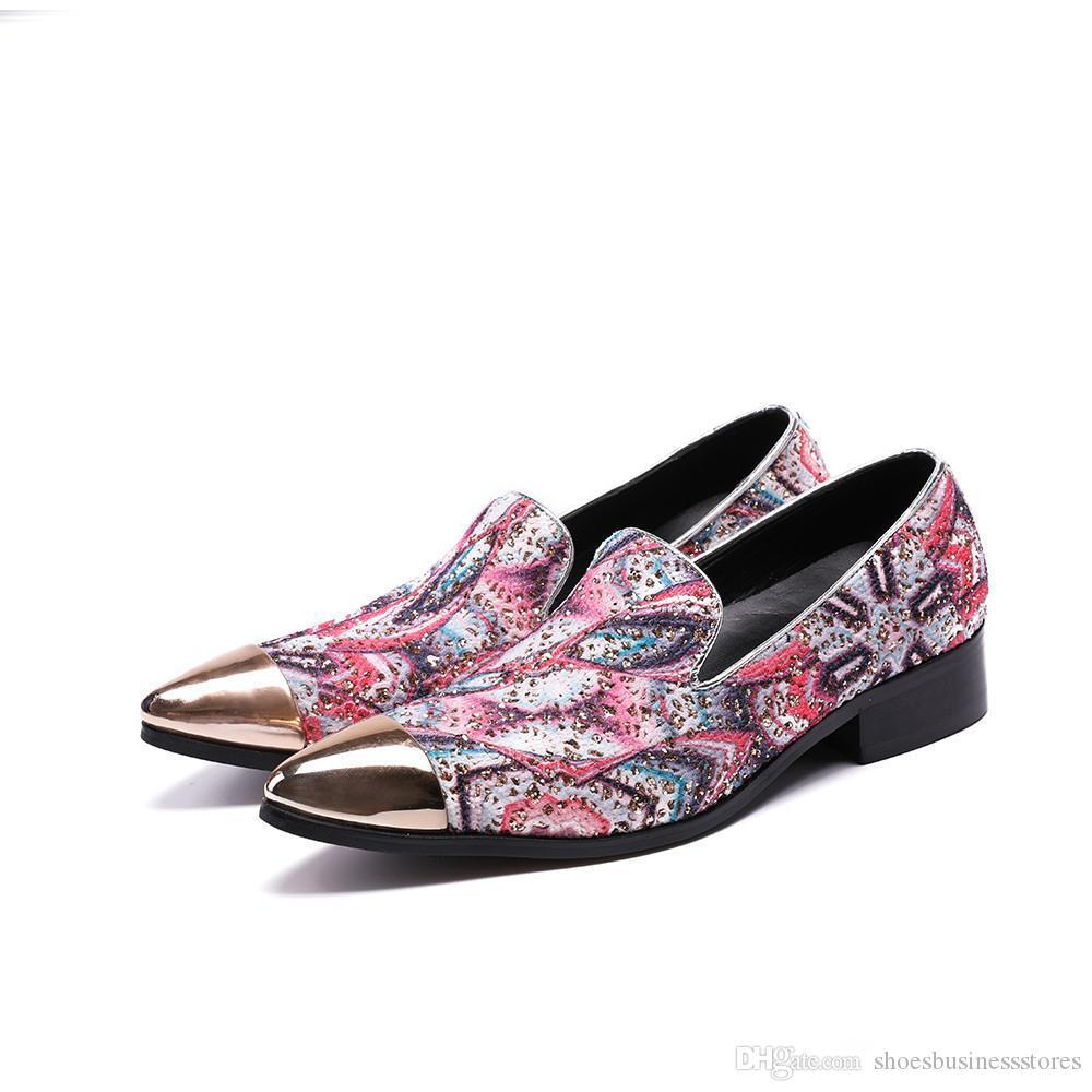Casamento sapatos masculinos paty de baile do partido estilo de moda britânica Marca Bullock Homens vestido formal derrapante sapatos em homens preguiçosos Big Pink Tamanho