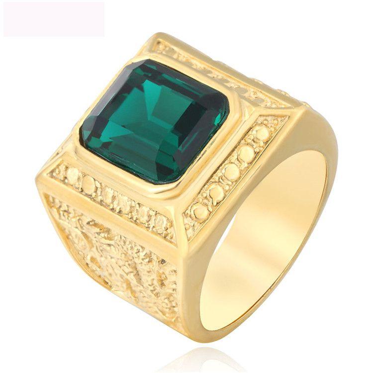 Nuevo anillo de joyas de piedras preciosas color oro titanio figura de acero anillo de fundición anillos reales para hombre envío gratis