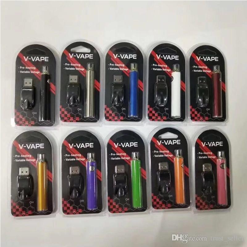 V-Vape LO Préchauffe VV Kit de batterie 650mAh Batterie de tension de variable avec chargeur USB pour 510 filetage TERRAIN DE CARTOULISSE D'HUILE D'APRESSE DHL