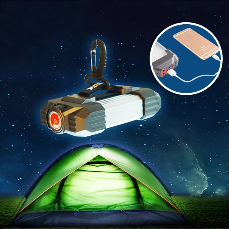 휴대용 야영 빛 USB 재충전용 플래쉬 등을 갖추는 Led 천막 빛 SOS 비상사태 이동할 수 있는 힘 은행 토치 서치