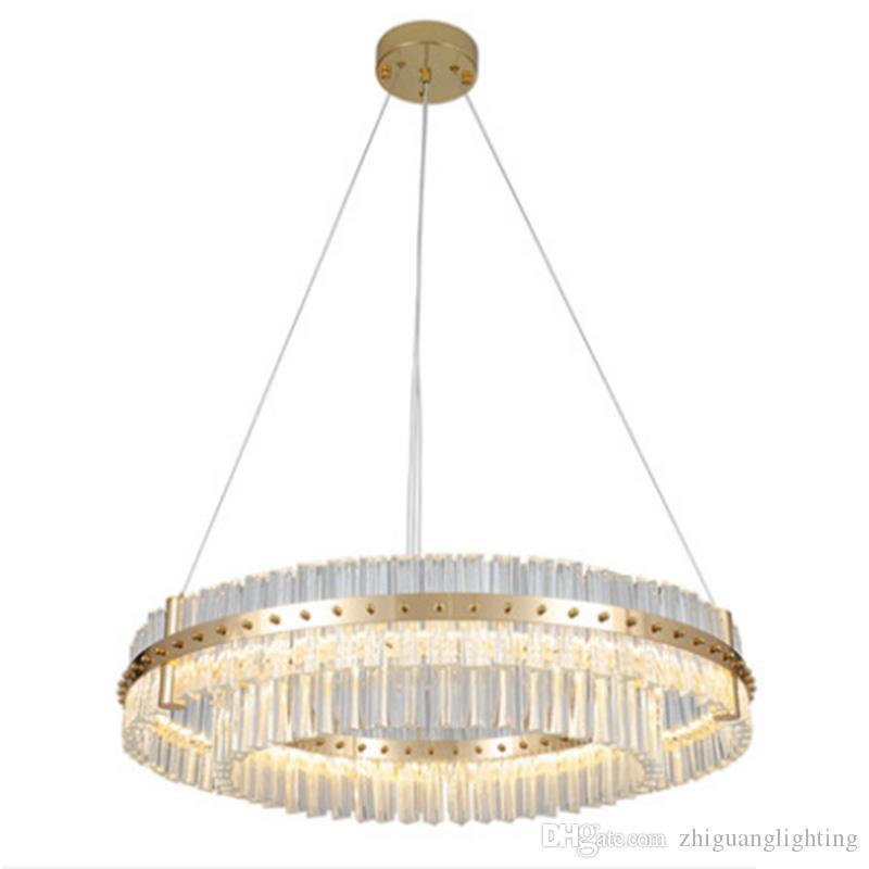 Postmodern İskandinav kolye ışık lüks atmosfer yuvarlak halka tasarımcı led yeni restoran oturma odası kristal lamba şerit led lamba