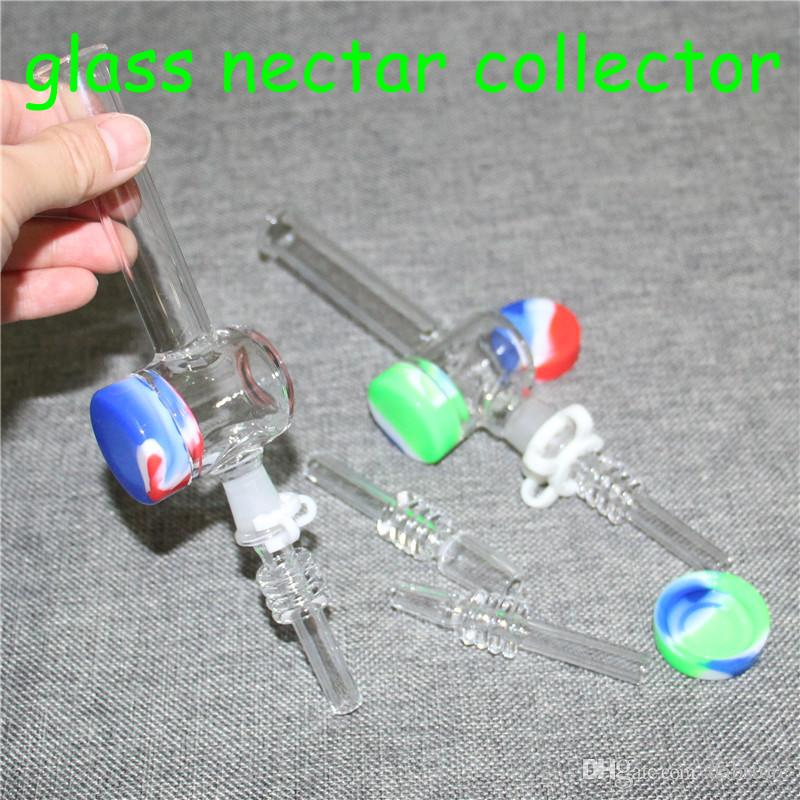 Mini Nectar Collector Kit With 10mm 14mm quartz Nail Mini Glass Pipe Oil Rig Concentrate Honey Dab Straw Water Pipes