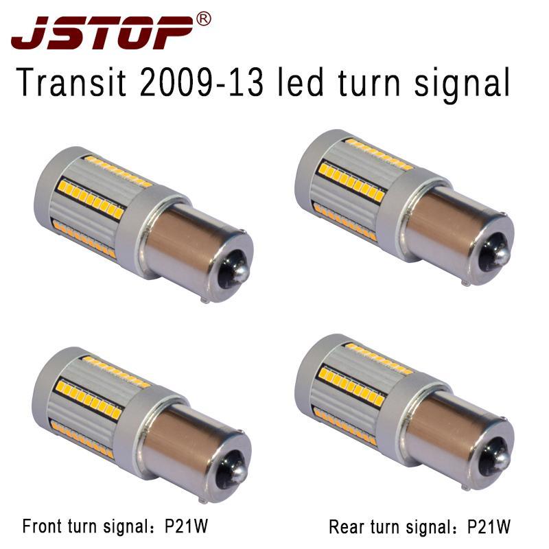 JSTOP 4pcs / set voiture Transit allume 100% Aucune erreur 12-24Vac ambré Aucun Hyper flash 1156 BA15S P21W conduit Clignotants avant arrière