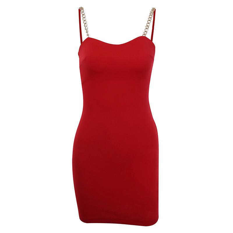 2020 Amazon misma atractiva línea roja, pecho bajo, delgado y en verano, en forma en la moda, metal versátil vestido de la liga