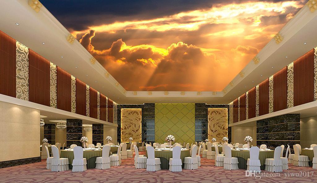 Foto personalizzata Carta da parati Home Decor Grande stile europeo Modello classico Lusso 3D Soggiorno Soffitto HD cielo sole refra Murales Wallpaper