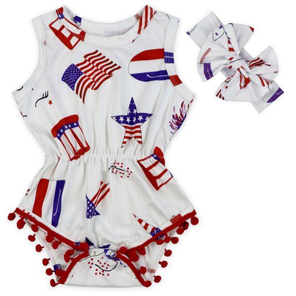 USA Flagge Jumpsuit Baby Mädchen Quaste Sleeveless Romper Amerikanische Flagge Print Strampler Neugeborenen Kinder USA Jumpsuit mit Stirnband GGA3364-4