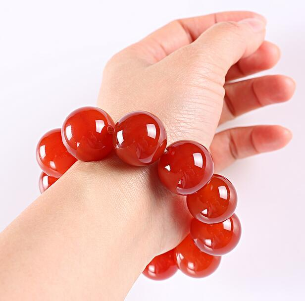 14mm Ball 100% Natural Red Brazilian agate Pearl Gift Bracelet Jadeite Jewelry