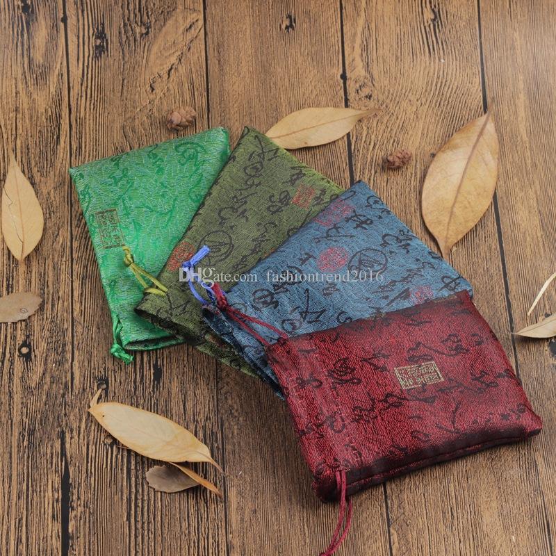Estilo Chinês pequeno presente Bolsa Bolsas contas Buddha Bag Brocade Embalagem Sacos para Jóias