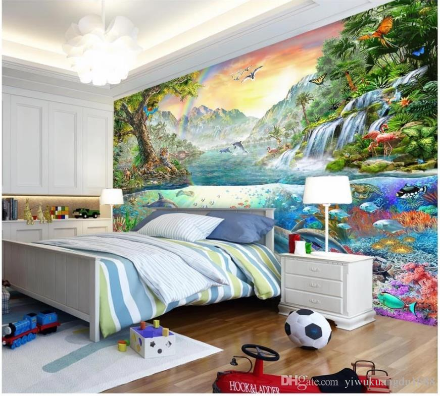 custom 3d wallpaper Colorful Ocean Dolphin Land Tiger Forest Paradise Children's Room Background Wall