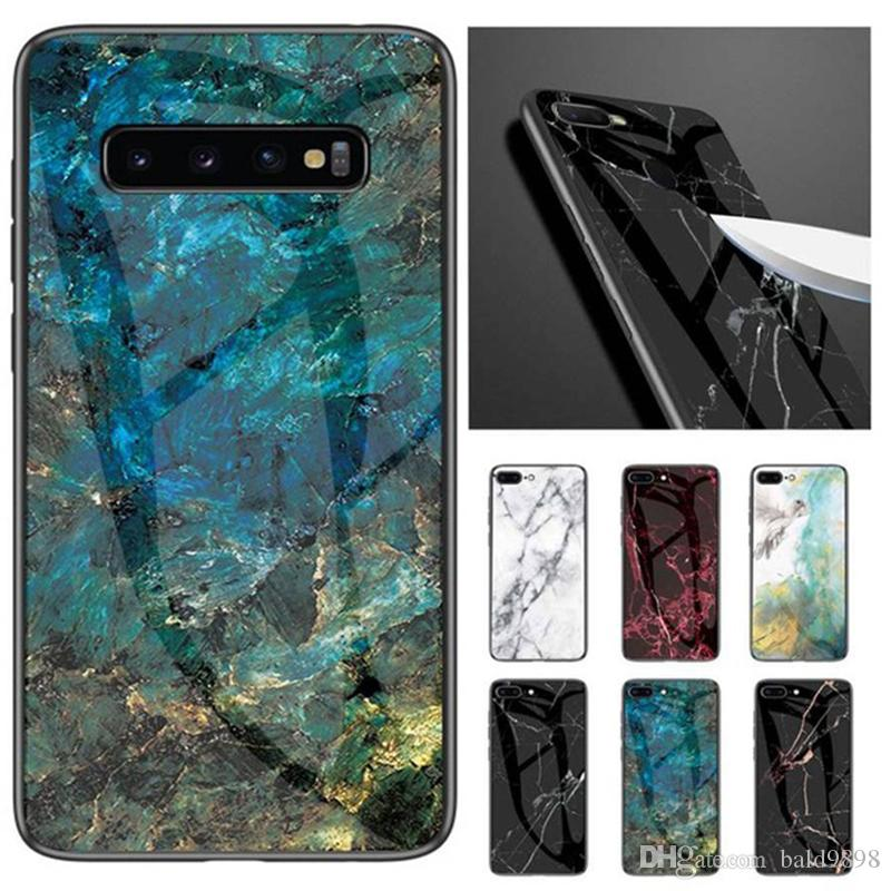 Luxury Marble Hard Frame Tempered Glass Phone Case For Samsung Galaxy S8 S9 S10Plus S10 lite Back Cover For Samsung A30 A50 case