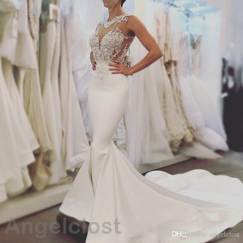 Illusion Lace Mermaid Wedding Dresses 2019 Jewel Open Back Sweep Train Appliques Beaded Robe De Mariée White Satin Bridal Gowns Custom Made