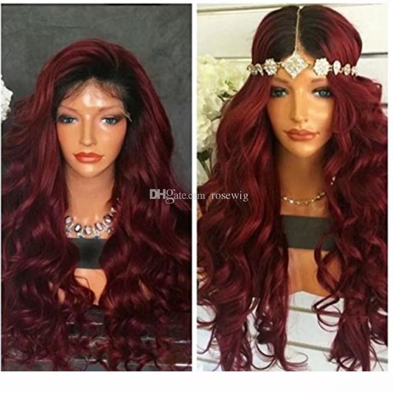 Ön Mızraplı Doğal Sınır çizgisi ile 1B 99j Renk Tam Dantel İnsan Saçın wigss Ombre Renk Brezilyalı Remy İnsan Saç wigss