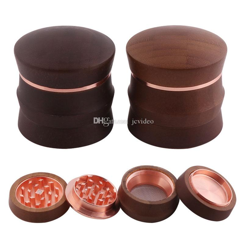 Wood Herb Grinders 65mm dia two colors more bamboo material tobacco grinders cnc teeth with gift box packing high quality grinder