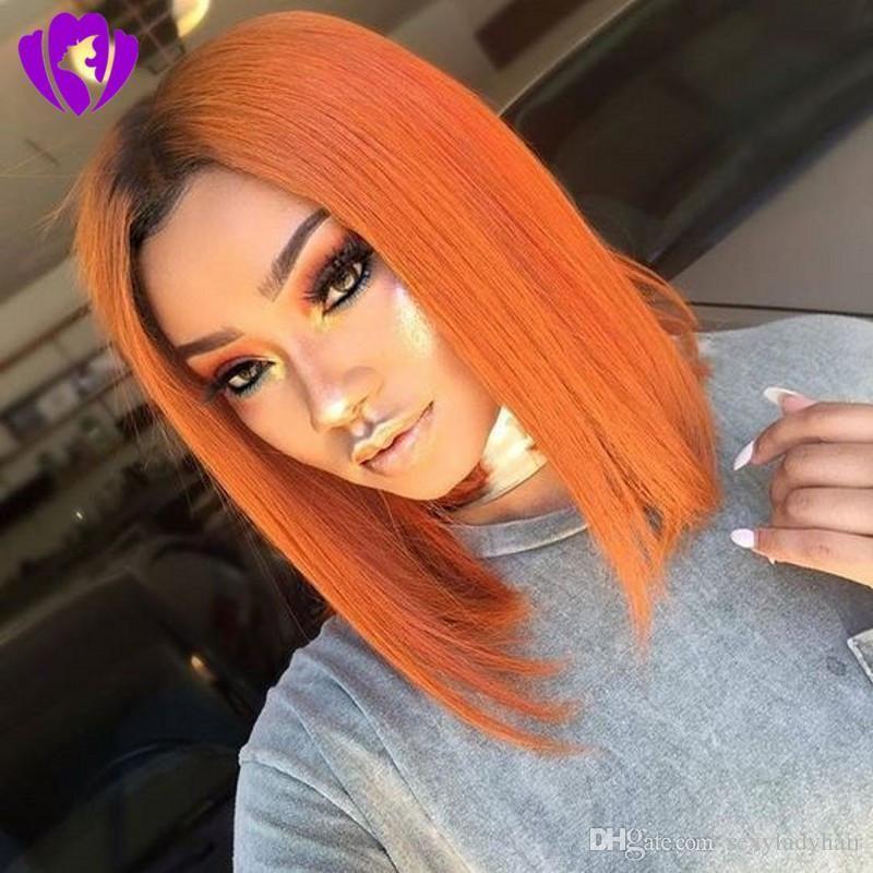 Hotselling schwarze Wurzeln ombre orange Farbe Short Bob Perücke brasilianische volle Spitze-Front-Perücke synthetische Wärme resisatant Haar für schwarze Frauen