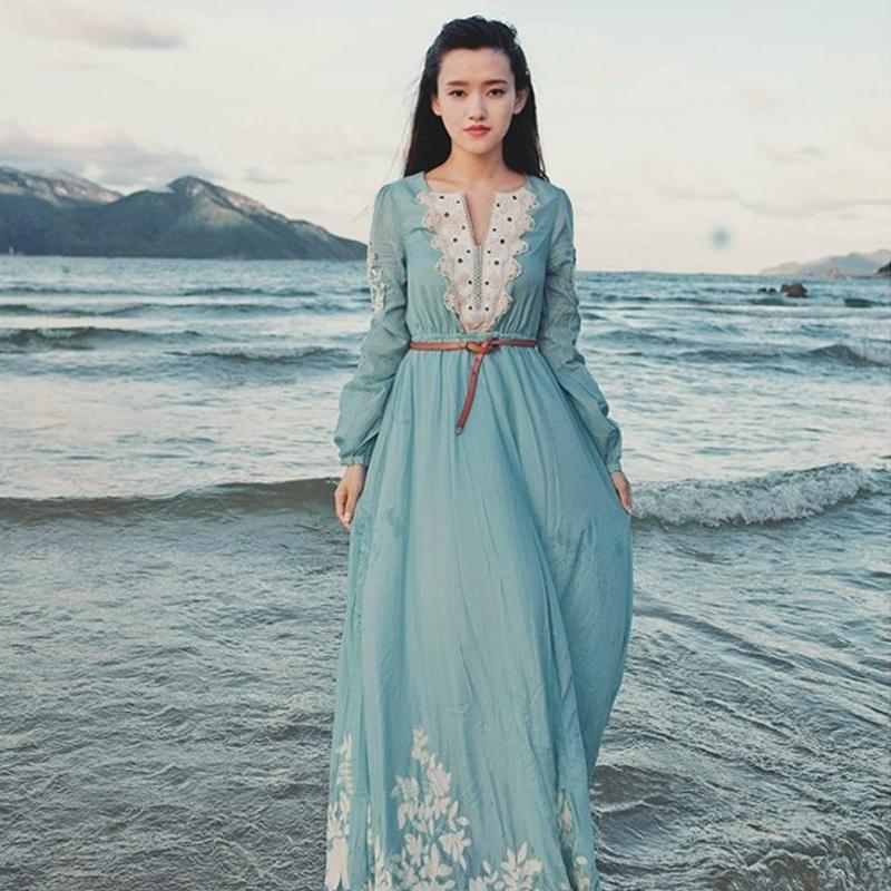 Free ship light blue lace embroidery full sleeve long medieval dress Renaissance Gown princess costume Victorian dress seashore