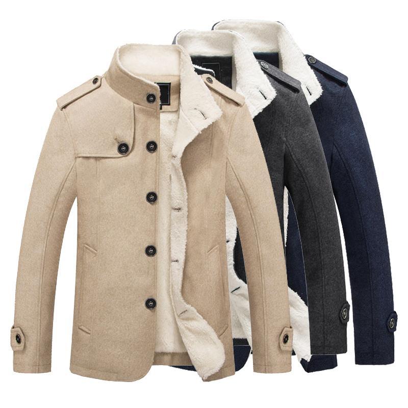 الشتاء الرجال معاطف سترة سترة الصوف سميكة الدافئة الرجال الشتاء معاطف جاكيتات الصوف معطف الذكور الصوف الرجال معطف رجالي chamarras