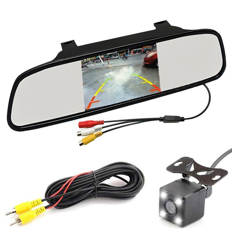 5 بوصة HD عرض 800 * 480 LCD مواقف السيارات مرآة مراقبة الفيديو عكس لنظام الرؤية الخلفية للمساعدة الكاميرا وقوف