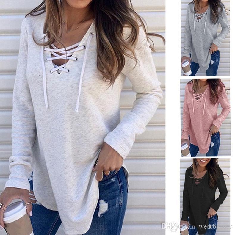 Womens T Women Long Crop Kleidung Schnürung Solide Lose Fashon Top V-Ausschnitt Ärmelte Top Damen Farbe Tops Hemden S-XXL XEIMO