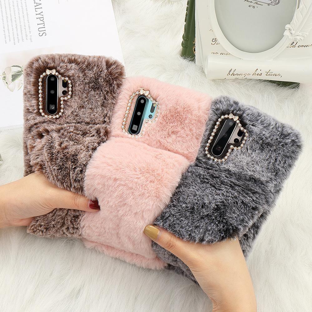 Fluffy Fur Shockproof Bumper Cover Cases for Huawei P30 P20 Lite Mate 20 Pro Nova 4e Luxury Cute Soft Coque Hand Gloves uk0001